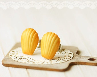 Food Earrings - French Madeleine Earring Studs - Gift for her