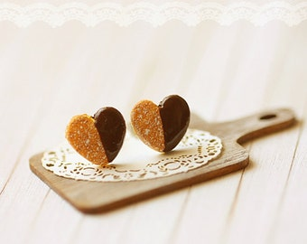 Miniature Food Jewelry - Food Earrings - Heart Cookies Earrings