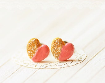 Miniature Food Jewelry - Food Earrings - Sweet Heart Pink Cookies Earrings