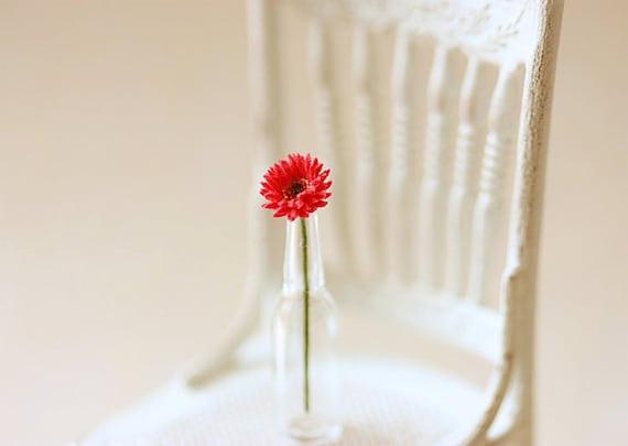 Dollhouse Miniature Flowers - Mini Gerbera Daisy in Red