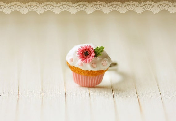 Dessert Jewelry - Medium Pink Gerbera Daisy Cupcake Ring - Valentines Gift - Gift For Her