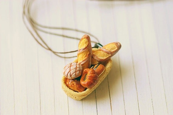 Bread Basket Necklace - French Bread Necklace - Miniature Food Jewelry - Gift For Her