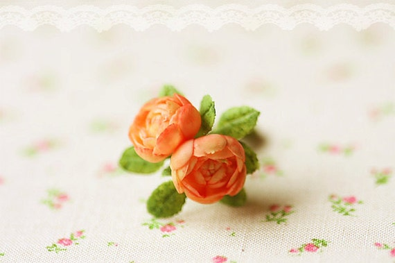 Dollhouse Miniature Flowers - Peach English Roses