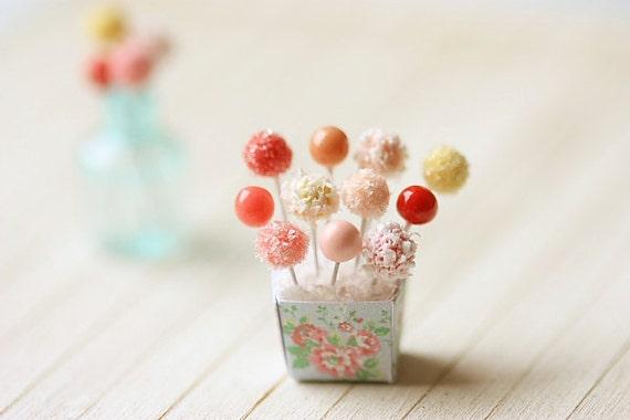 Dollhouse Miniature Food - Sweet Cake Pops in 1/12 Scale