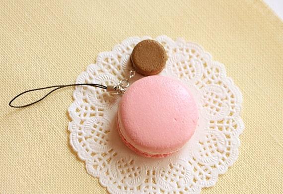 Macaron Keychain - Macaron Phone Charm Bag Charm - Strawberry and Chocolate Macaron - Wedding Favors