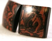 Mens Cuff links Gaboon Ebony Wood with Japanese Mokume M3 Inlay Handcrafted Wooden Cufflinks (CL-345)