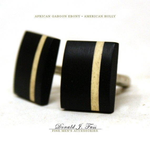 African Gaboon Ebony with American Holly Inlay Stripe Handcrafted Wood Cufflinks