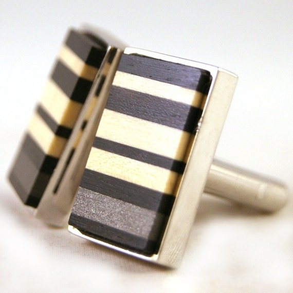 Mens Cuff Links - African Ebony with American Holly Irregular Stripe and M3 Stainless Steel Accent (CL-410)