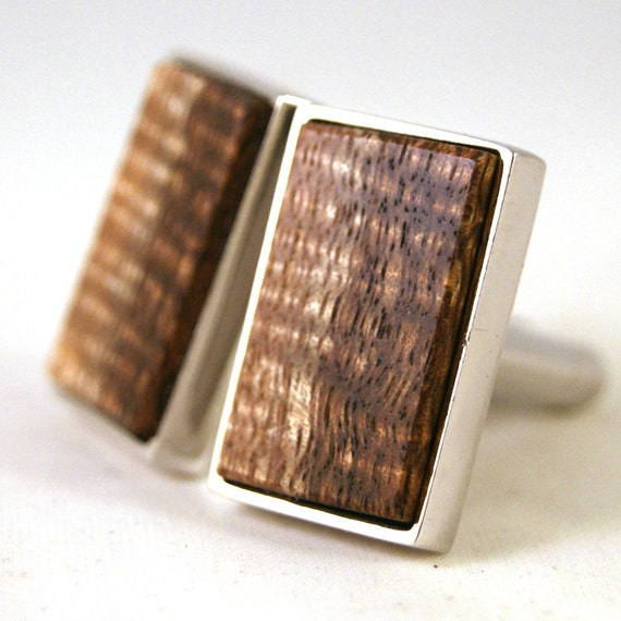 Wooden Cufflinks: Curly Old Growth Hawaiian Koa with Sapwood in Sterling Silver Bezel (CL-428)