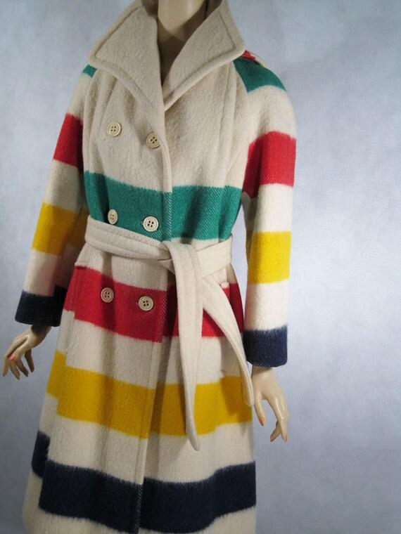 Vintage 1980s 80s Hudson Bay Coat Wool Full Length Blanket