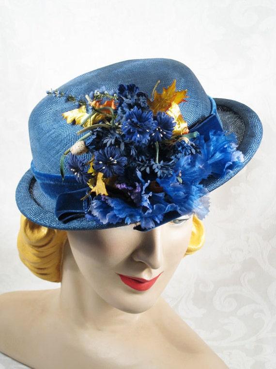 Vintage Hat 1940s Helen Joyce Slate Blue Straw Derby with Flowers