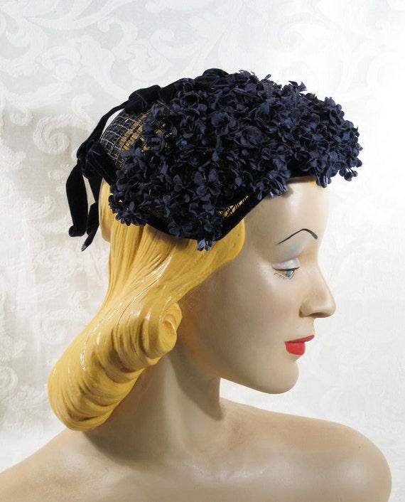 Vintage 1960s 60s Navy Blue Floral Hat by Carene