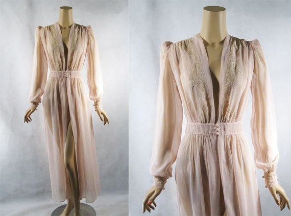 Vintage 1940s 40s Robe Sheer Voile Pink Dressing Gown Sz L B42 W26