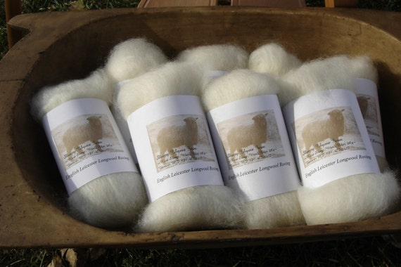 White English Leicester Longwool Roving 2 ounces
