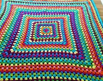 Bright Multicolor Crochet Granny Square Blanket Afghan Throw