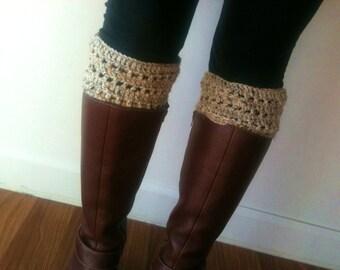 Boot Cuffs Hand Crochet Winter Socks Oatmeal
