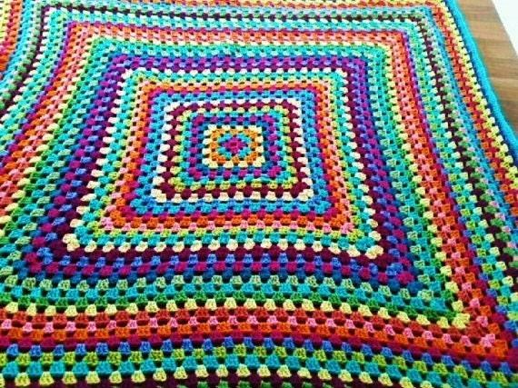 Knitting Granny Square Blanket : Bright multicolor crochet granny square knit blanket afghan