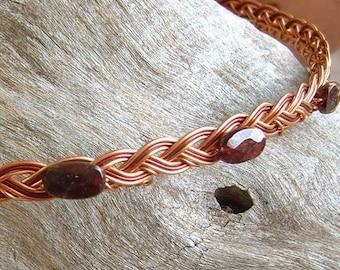 Celtic Circlet in Copper or Gold w Garnet