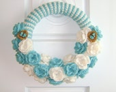 Handmade 14 Inch Crochet Turquoise and White Wreath with Bird Nest