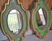 Pair of Vintage Gold Ornate Mirrors.