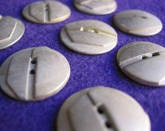 Silver Plated Metal Art Nouveau Button Cabachon (10)