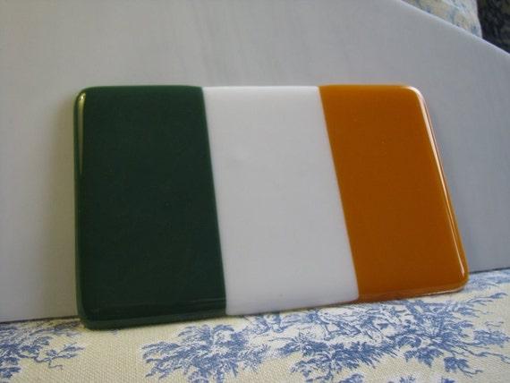 Irish Flag Glass Paperweight