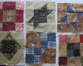 Set of 13 Civil War Blocks 4 inches square Reproduction Fabrics