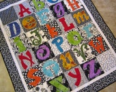ABC Quilt Bold Colorful Applique on Black and White Squares