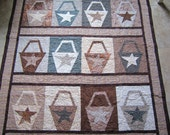 BASKETS AND STARS Quilt from Quilts by Elena Browns and Creams