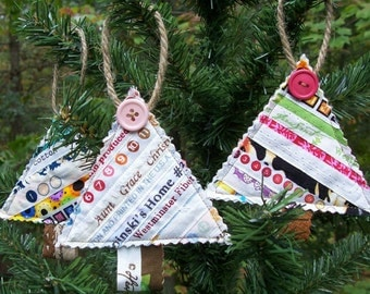 Set of 3 Quilted Selvage CHRISTMAS TREE Ornaments  made with Selvages, Antique Button embellishment