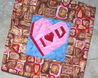 I Heart You Mini Love Quilt Candy Coversation Heart Foundation Pieced Wall Hanging