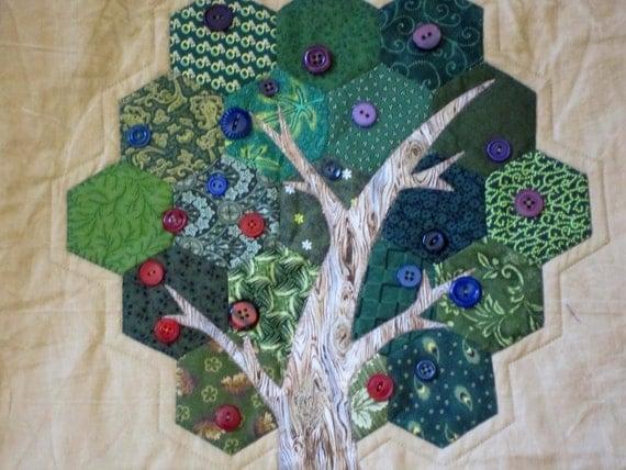 MODERN WALL HANGING Hexagon Applique Tree Quilt