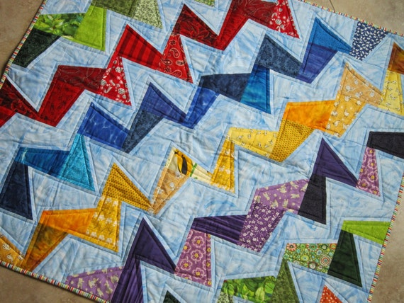 TILTED Modern Quilt  from Quilts by Elena Wonky Zig Zag Colorful and Bright Youth Quilt Wall Hanging