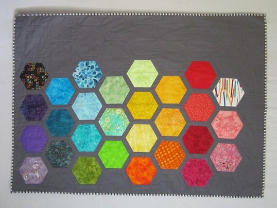 Big Bold Baby Hexagons Quilt from Quilts by Elena Modern gray background with bright appliqued hexagons Wall Hanging Ready to Ship