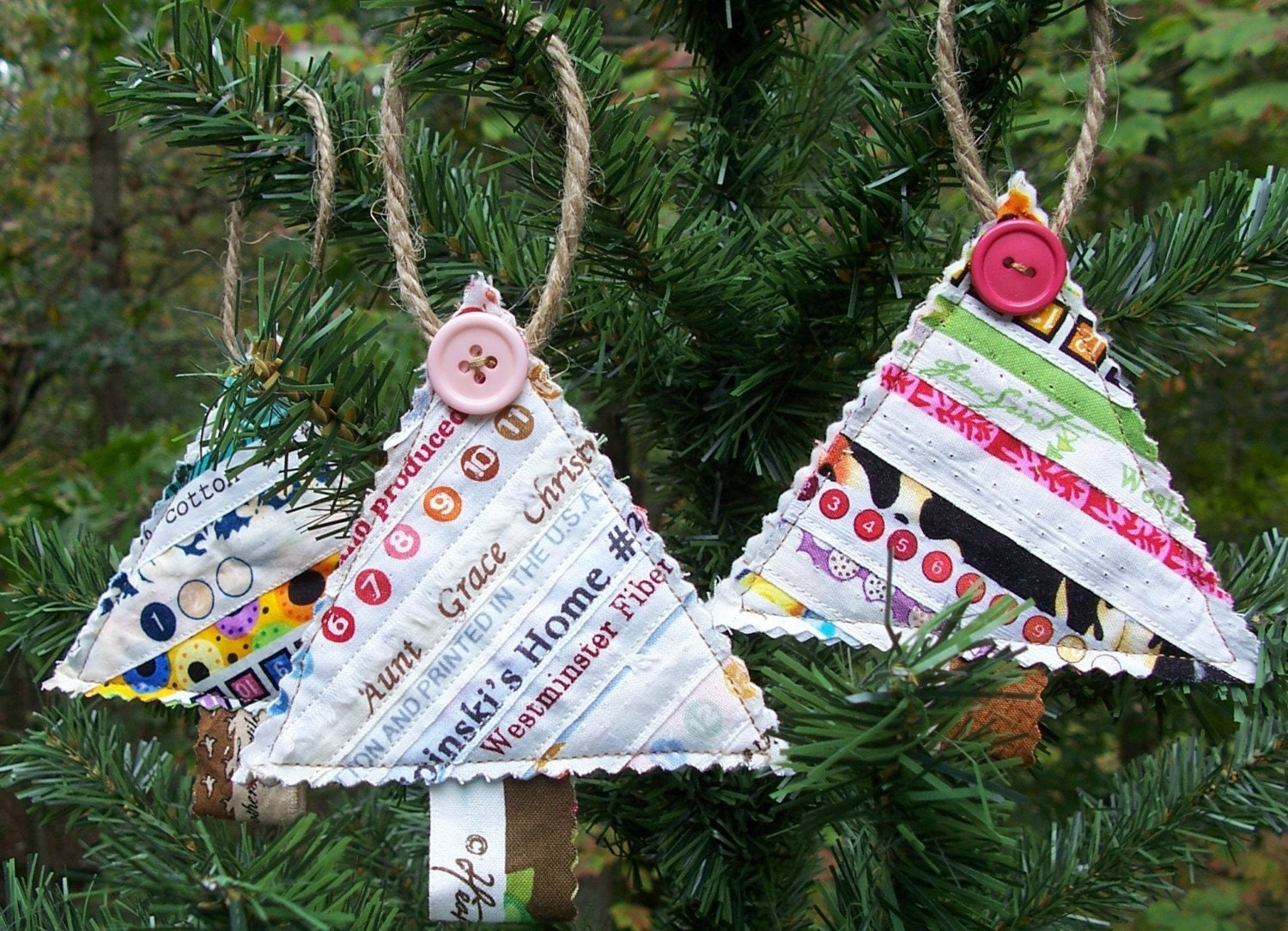 Set Of 3 Quilted Selvage CHRISTMAS TREE Ornaments Made With