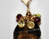 Smokey Topaz with Sapphire and Garnet 14k necklace OOhhh