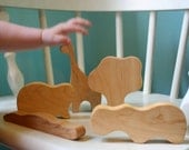FIVE OHIO maple lovely pieces TEETHING TOYS Wood pretend and teether SAFARI BLOCK set