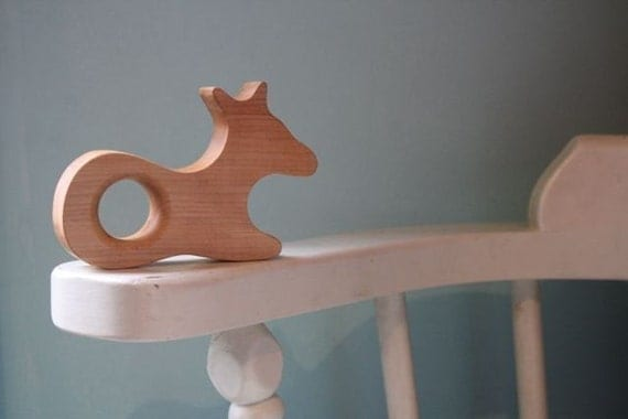 Fiona the Fawn Wood Teether organic natural wooden teething toy for baby and toddler