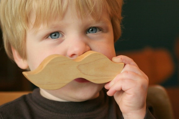 Baby Rattle Stache Little Alouette Wee Wood Moustache TEETHING TOY natural ORGANIC play for baby and toddler infant