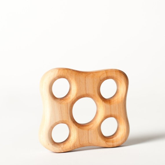 READY to SHIP Wood BABY Teether Holey sensory help wooden toy natural baby  teething toy