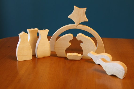 Modern Nativity Set in Wood by Little Alouette 10 piece set