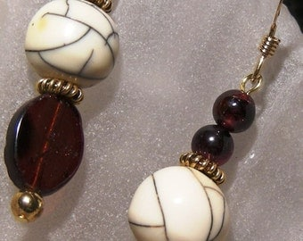 Glimmer of Garnets and Faux Ivory Earrings