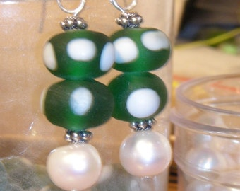 Polka Dots and Pearls Earrings in Green and White
