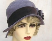 Womens Flapper Cloche Hat in 1920s Vintage Style - Violet Purple Suede