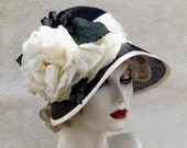 Flapper 1920's Summer Cloche Hat in Black and White