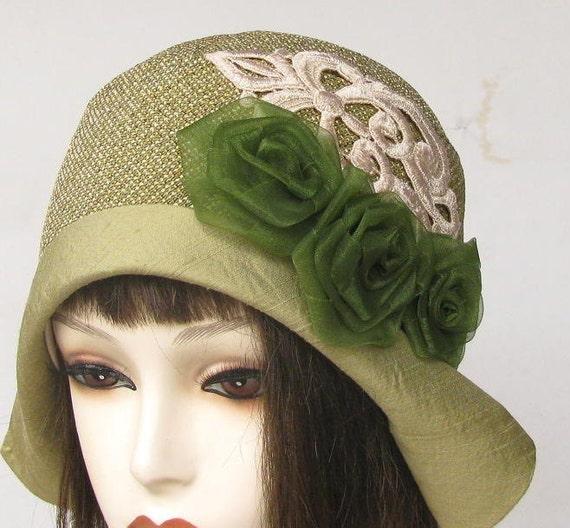 Vintage Style Flapper Cloche Hat in Sage Green