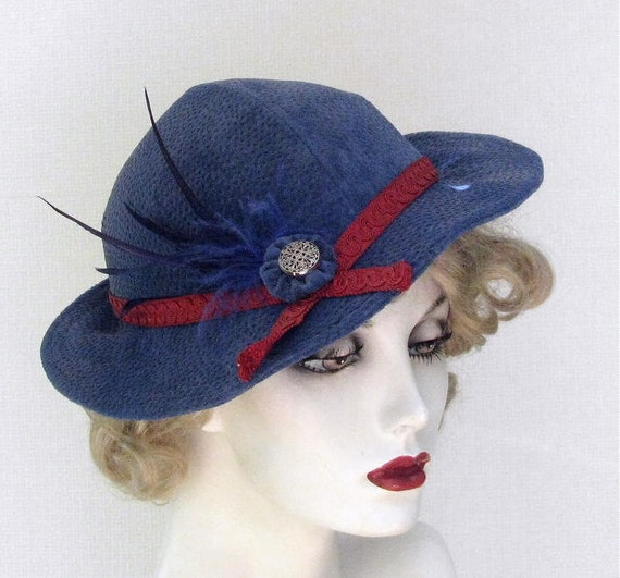 Womens Bombshell Hat Vintage Reproduction 1930s 1940s Royal Blue Suede
