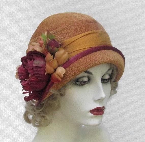 designer cloche hat 1920s flapper vintage style in orange