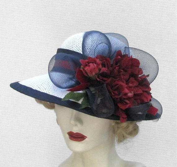 Womens Hat Wide Brim Straw Summer Hats in Red White and Blue