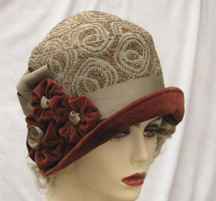 womens fashion fabric cloche hat in vintage 1920s art